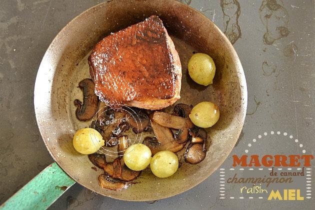 Recette bio de magret de canard po l aux champignons raisins et miel bio - Recette magret de canard a la poele ...